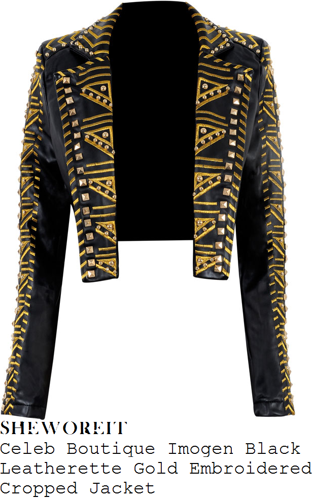 paulina-rubio-black-gold-embroidered-embellished-leather-jacket-conan-obrien-show