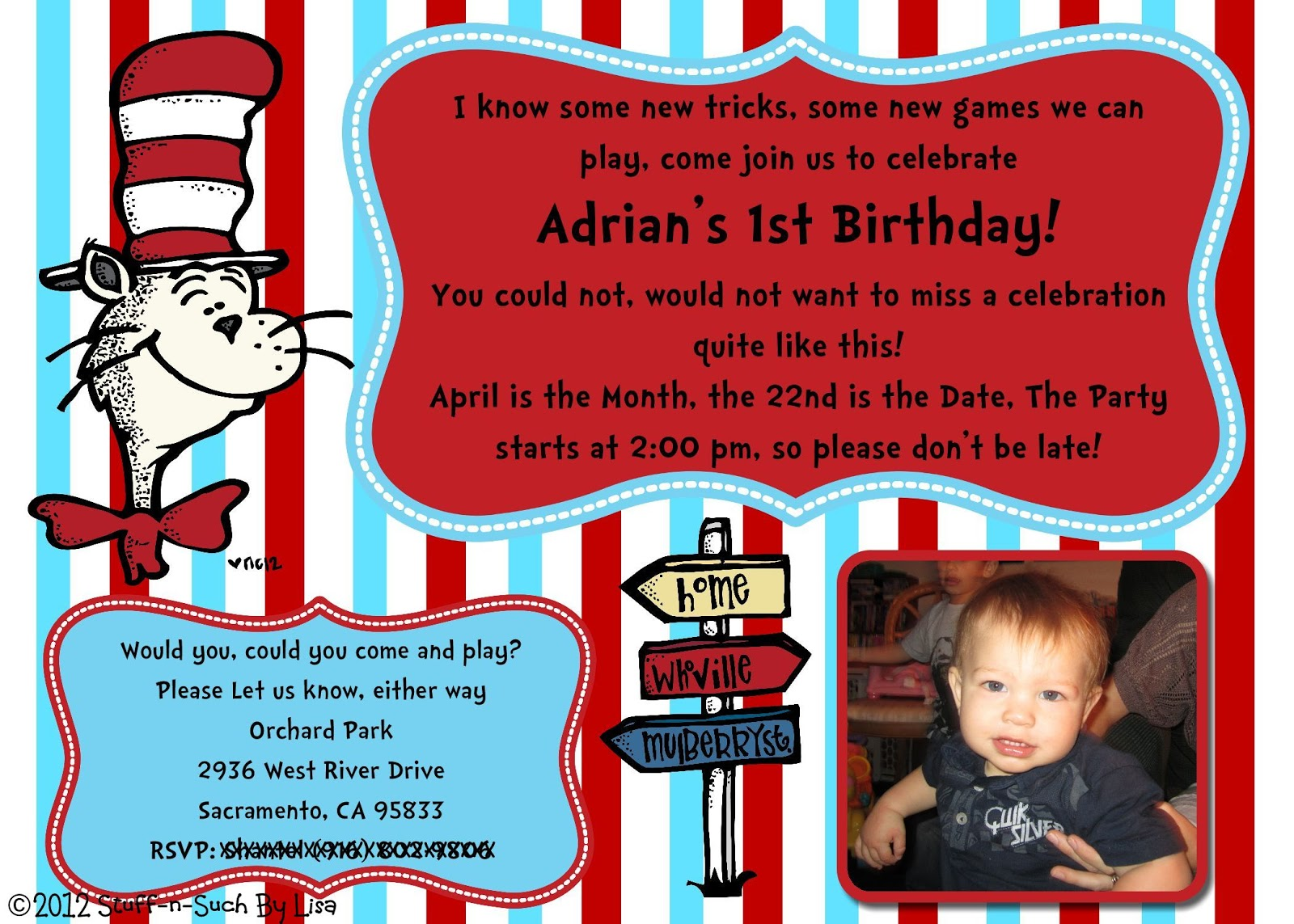 Stuff-n-Such By Lisa: Dr. Seuss Birthday Invitation and a GIVEAWAY!!