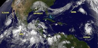 Ileana, Kirk, Leslie, John, aktuell, Satellitenbild Satellitenbilder, August, September, 2012, Bermudas, Hurrikansaison 2012, Atlantische Hurrikansaison, Pazifische Hurrikansaison,
