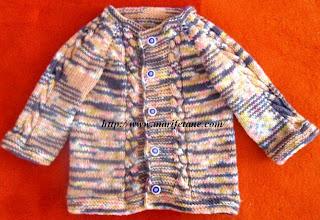 burgu desenli örgü bebek hırkası
