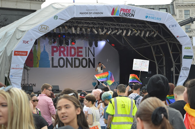 London Gay Pride 2015 stage with gay pride flags