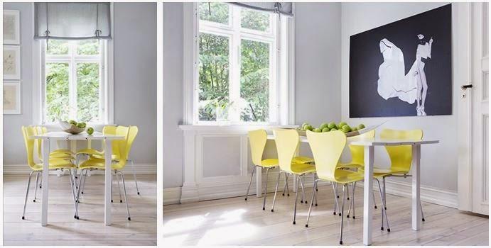 comedor gris-amarillo