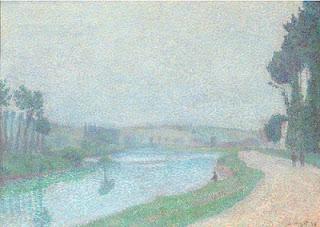 Image: Bord de L'Oise a l'aube, Pontoise, 1888, by Louis Hayet