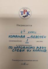 Народный мяч. Девочки I место. 4 класс.