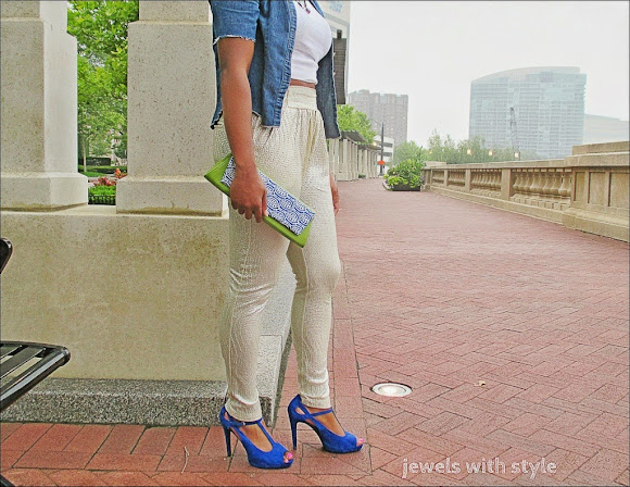 clutch makeover, DIY clutch, DIY purse,gold pants, jewels with style, jean shirt, high bun, blue high heels, do it yourself purse, black fashion blogger
