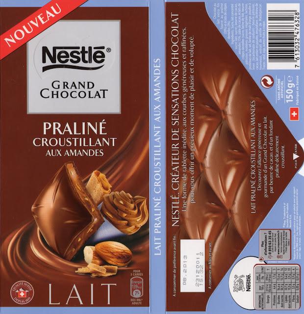 tablette de chocolat lait gourmand nestlé grand chocolat praliné croustillant aux amandes