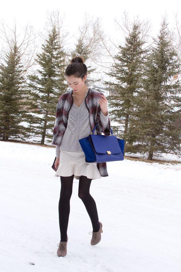 winter fashion, calgary fashion, trapeze coat, celine trapeze, frilled skirt,