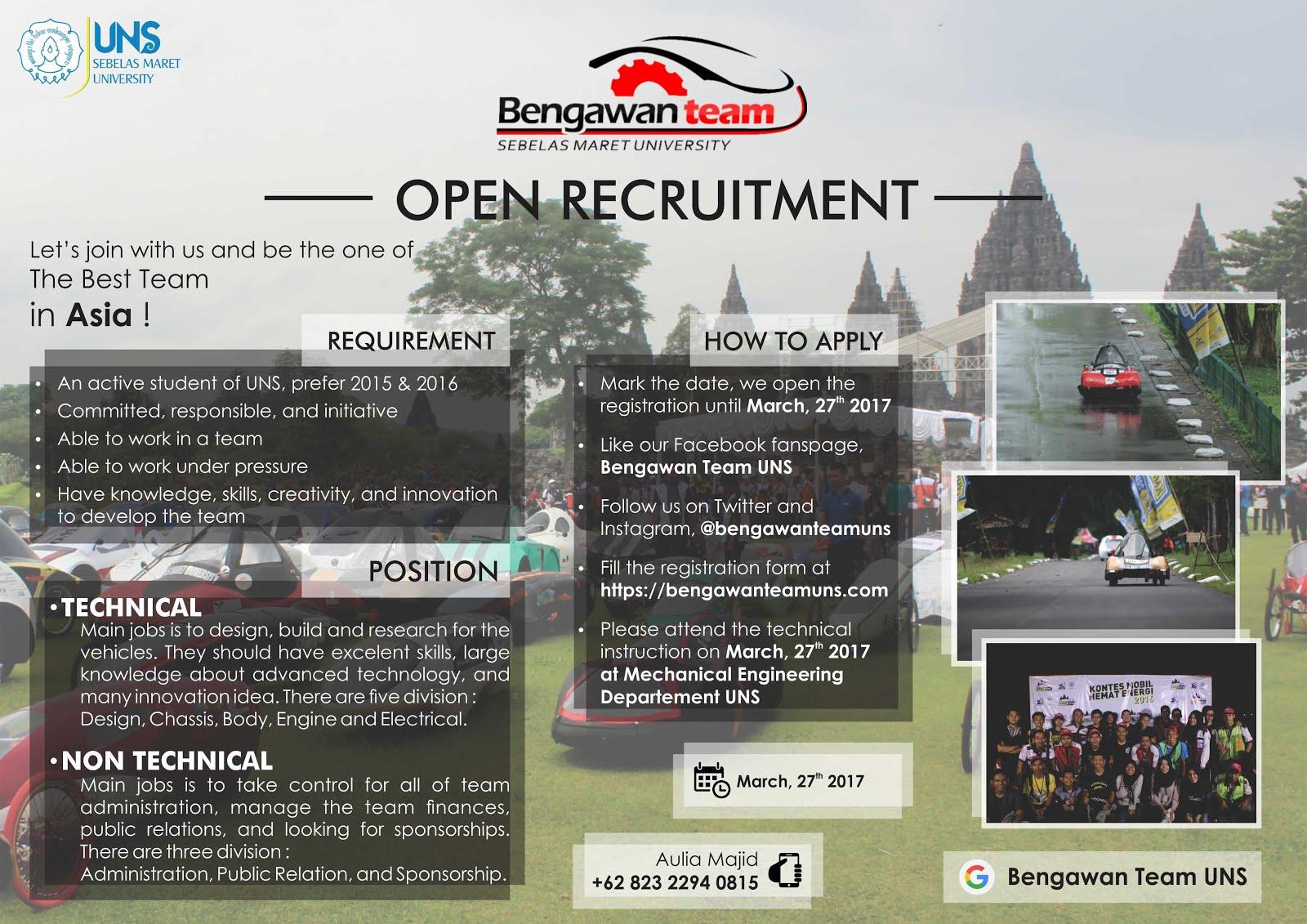 bengawan team uns open recruitment bengawan team uns 2017