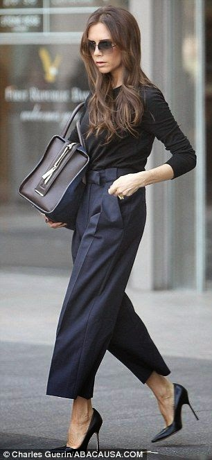 Victoria Beckham wears Gaucho Pants - Street Style Fashion