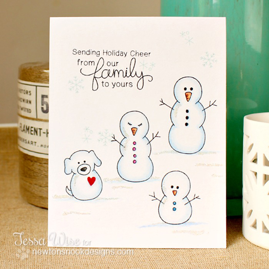 Snowman Family card by Tessa Wise for Newton's Nook Designs - Flaky Family Snowman Stamp Set