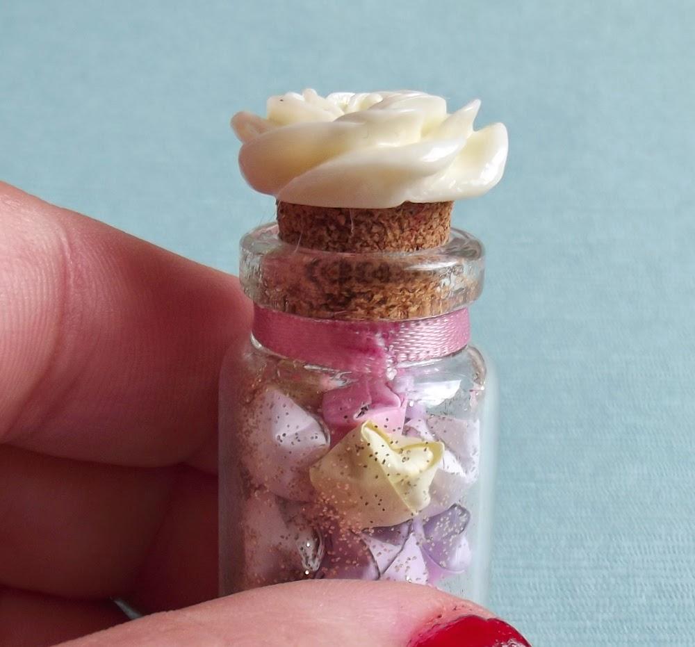 glass vial bottle cork resin rose ribbon rose origami quilling paper stars pastel lucky gold glitter