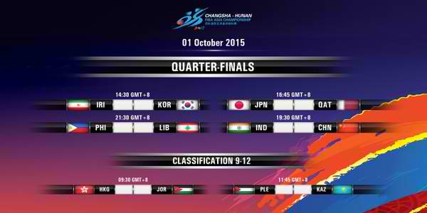 Day 7 - Quarterfinals: FIBA Asia 2015 Results, Scores, Stats & Video Highlights (October 1)