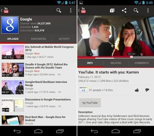 تطبيق يوتيوب للأندرويد
