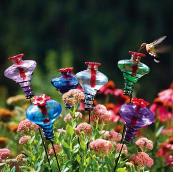 Glass Hummingbird Feeder Stakes