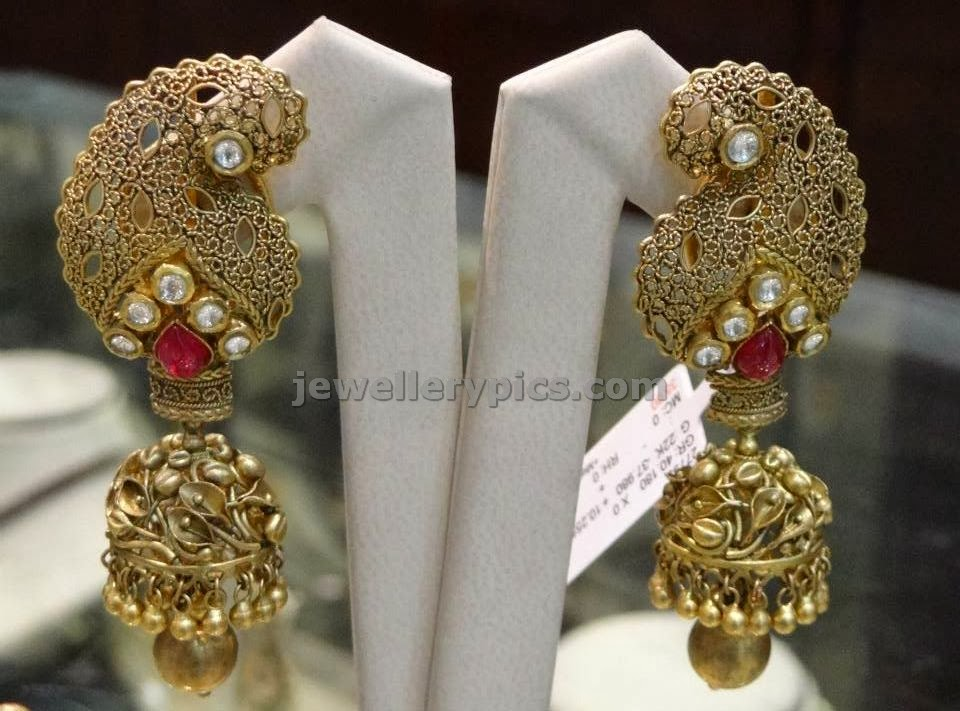 antique gold jumka with mango work filigree art