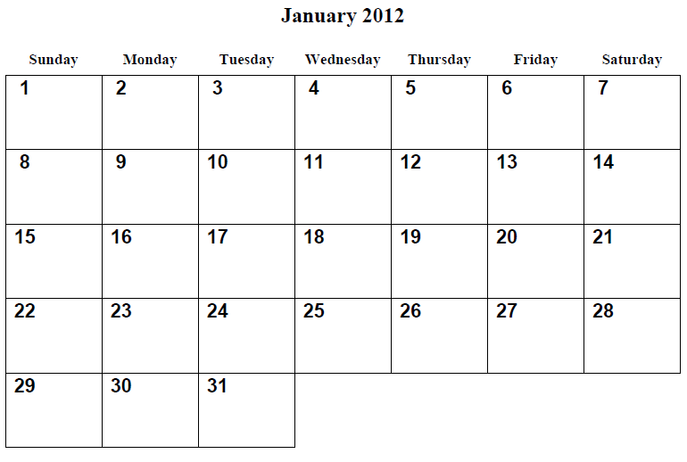 chinese new year: january 2012 calendar printable