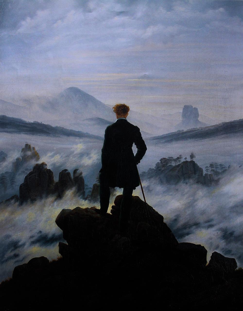 «Περιπλανώμενος επάνω από την ομίχλη της θάλασσας» (1818)                    Caspar David Friedrich