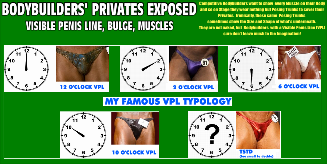 bodybuilders privates exposed (in posing trunks) - visible penis line, bulge, muscles