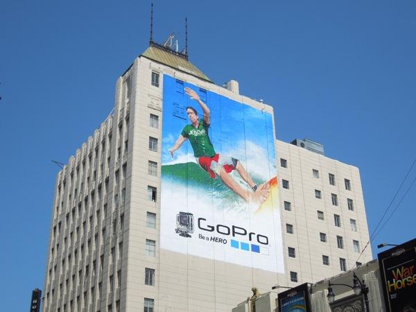 Giant GoPro Be a Hero surfer billboard