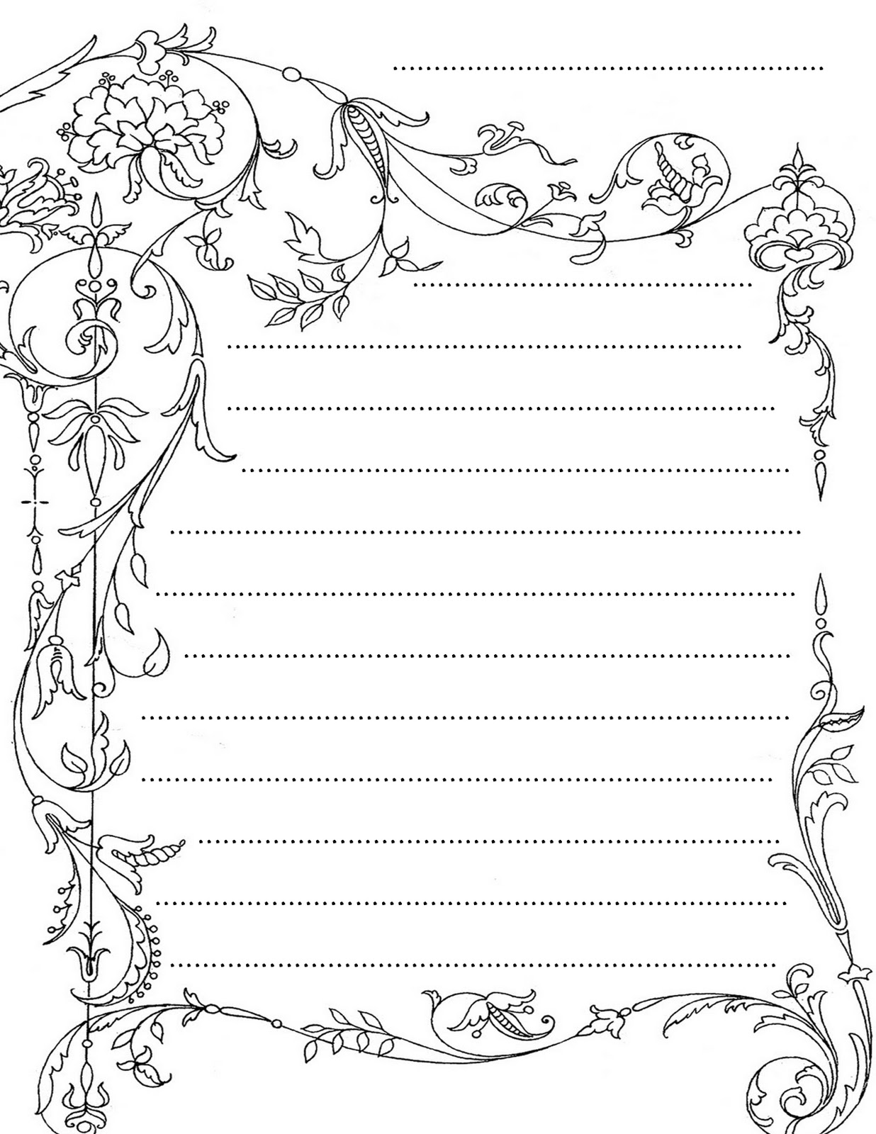 lined stationary template – Free Printable Lined Stationary