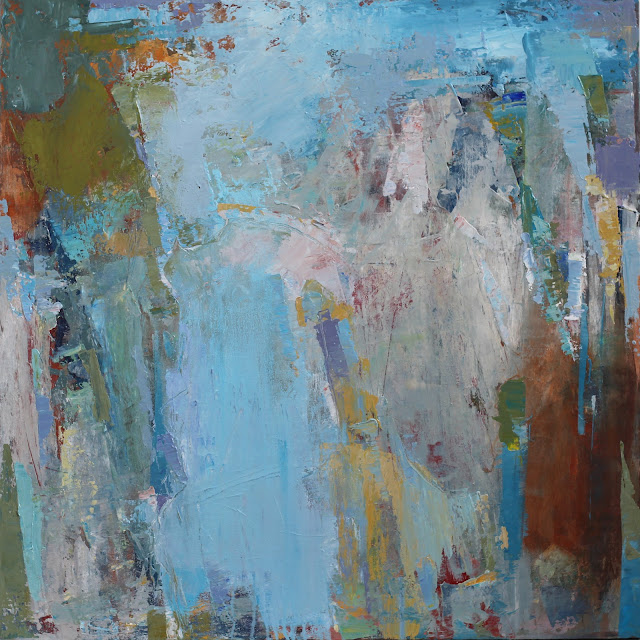 Abstract painting by artist Karri Allrich in rich, textured layers of paint and glaze. Meditative, lyrical, peaceful sea blues, colors of wet stone and sand, mossy green, foam, sky. Artist acrylics and glaze on canvas. Unframed.