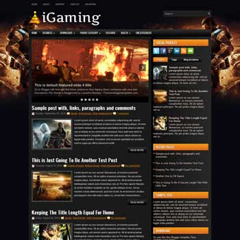 iGaming blog template. magazine blogger template style. download blogger template games