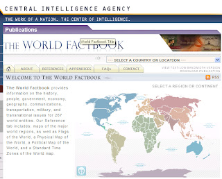 screenshot of World Factbook homepage