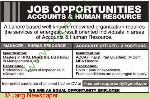Manager & Account Officer Jobs In Lahore