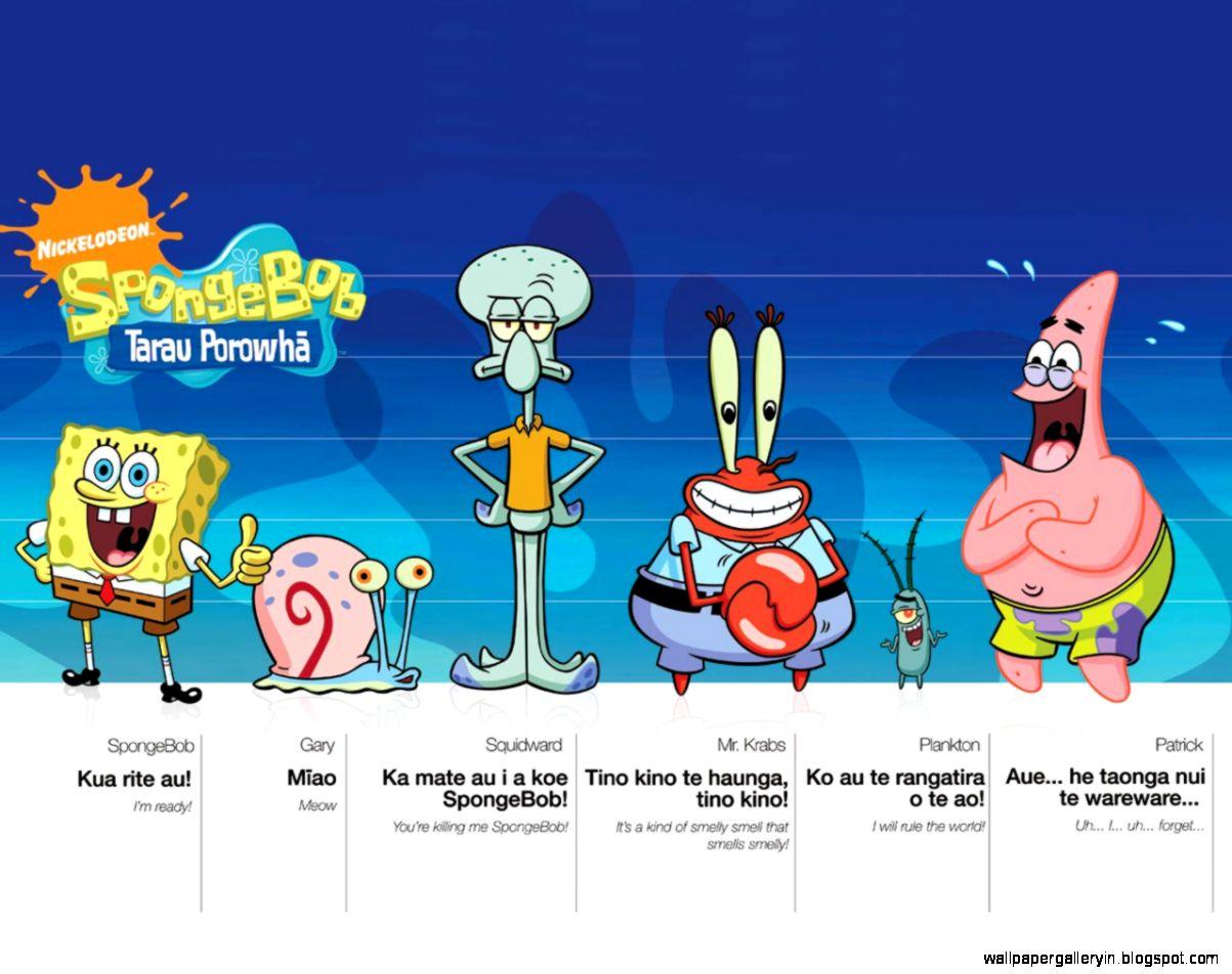 Spongebob Gary Squidward Mr Krab Plankton And Patrick Hd Wallpaper