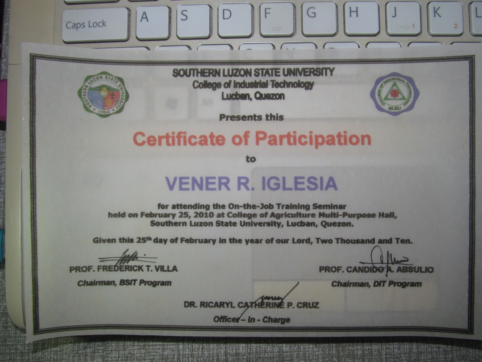 ojt certificate of completion