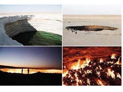 Dari jauh kelihatan dua lelaki sedang berdiri berhampiran pintu ke alam neraka. Pakar geologi berharap api yang membakar gas berkenaan dapat dipadamkan tetapi gagal.