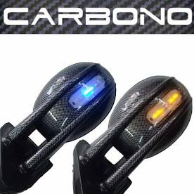 Par Retrovisor Carbono Tuning C/ Pisca Adapta Fusca E Outros -