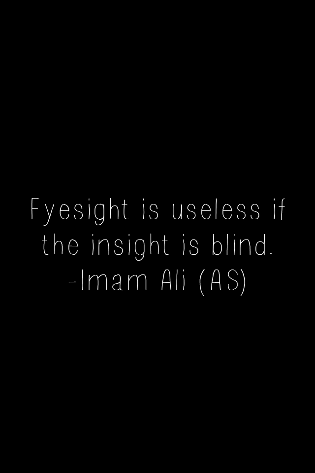 Eyesight is useless if the insight is blind.