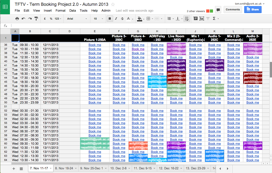the apps script and google spreadsheet room booking system
