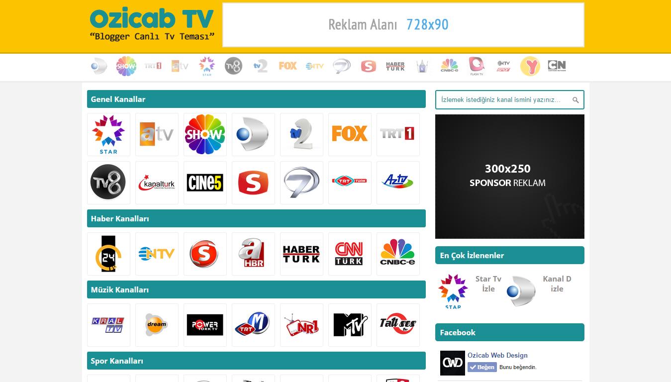 Ozicab Blogger Canlı Tv Teması