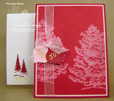 Picture of my red snowy trees Christmas card set.