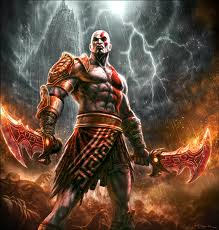 Kratos from God of War with lighting in the background, holding the Blades of Chaos