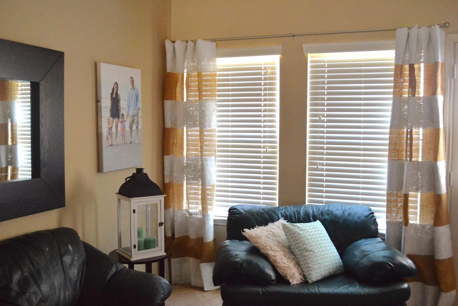 A DIY Life Striped Burlap Curtains
