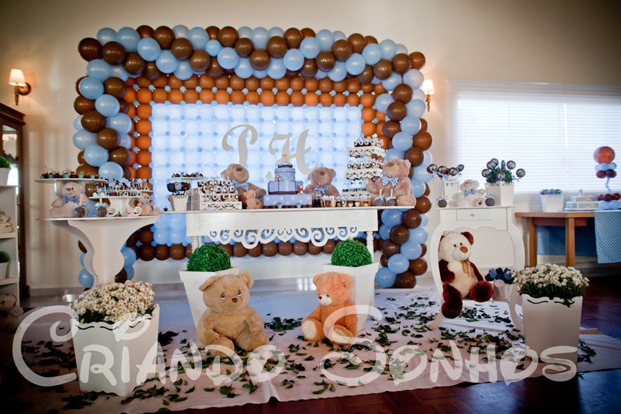 festa jardim dos ursos: Sonhos: Decoração de festa infantil Ursos Azul e Marrom Provençal