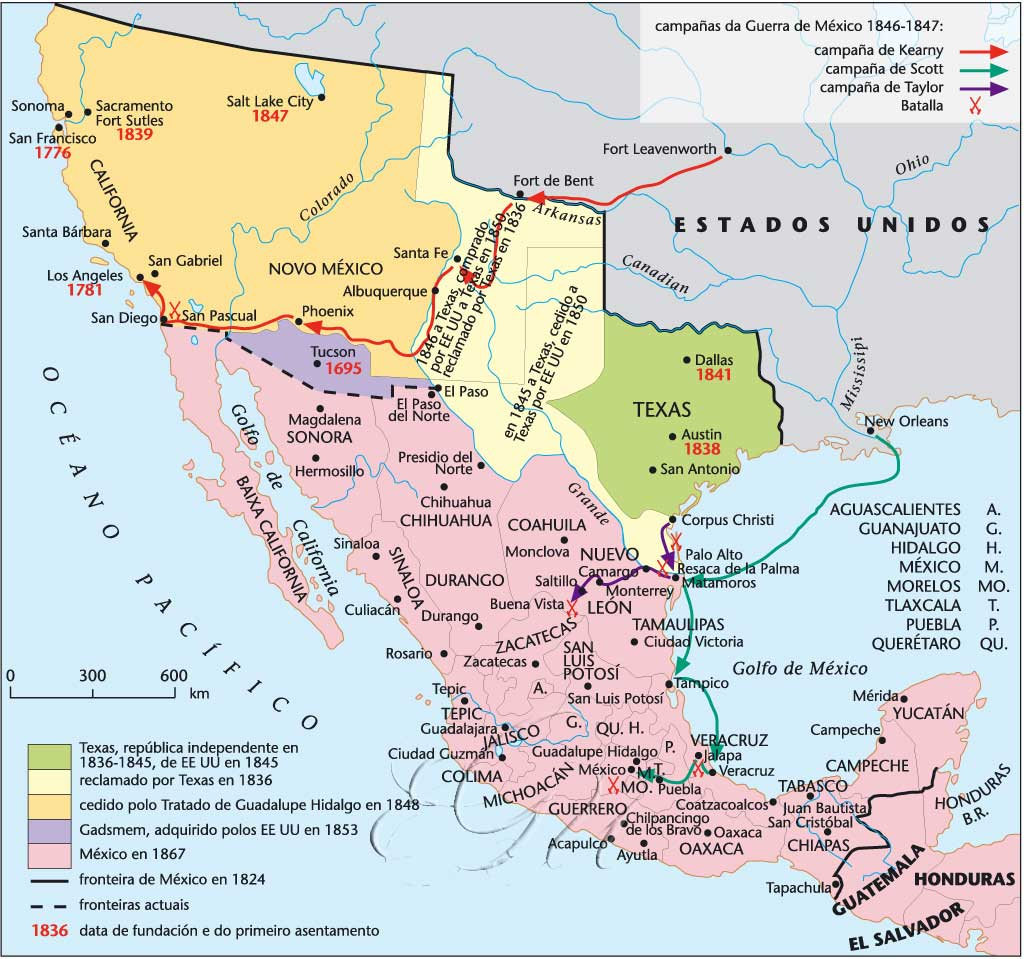 Historical Maps Of Mexico - Us map 1824