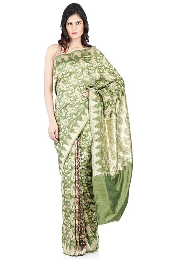 Meadow Green Kattan Silk Banarasi Saree
