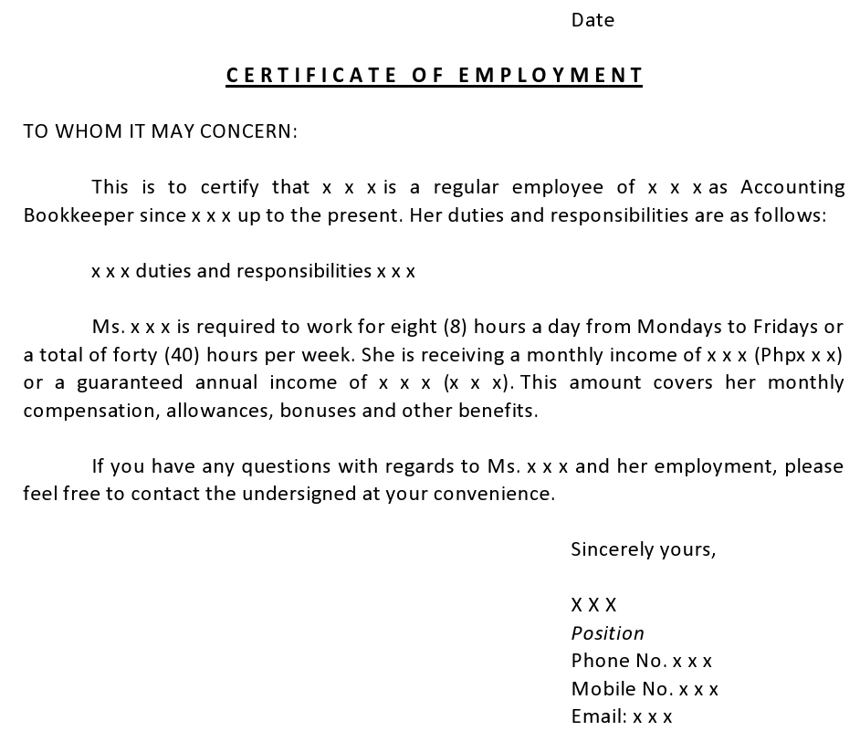 Letter Of Employment H1b