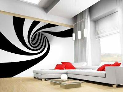 decoración con papel pintado