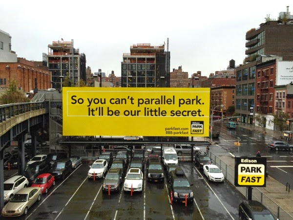can't parallel park our little secret billboard
