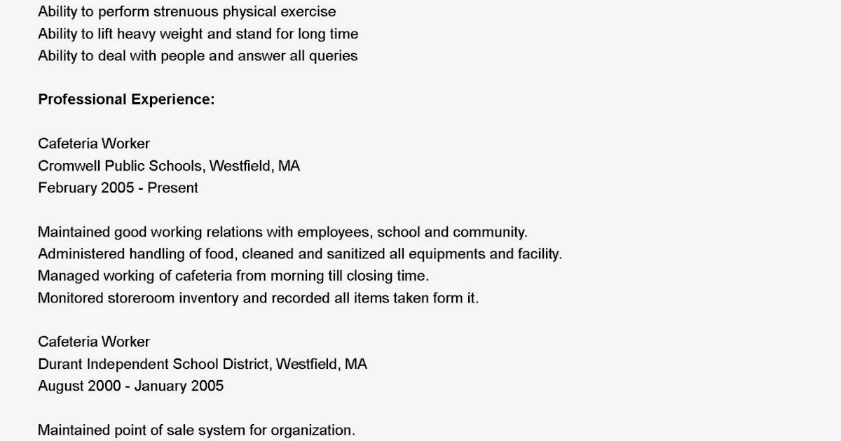 resume samples cafeteria worker resume sample