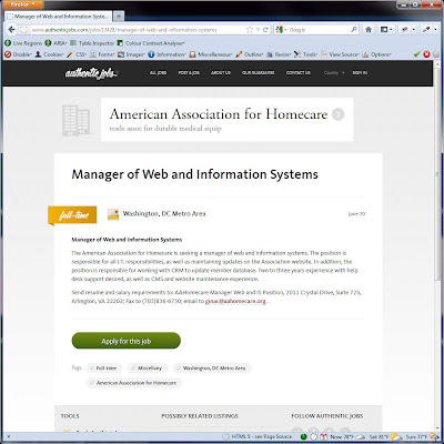 Screen shot of http://www.authenticjobs.com/jobs/13428/manager-of-web-and-information-systems.