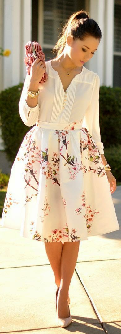 Sheinside White Multi Floral Print Full Midi A-skirt