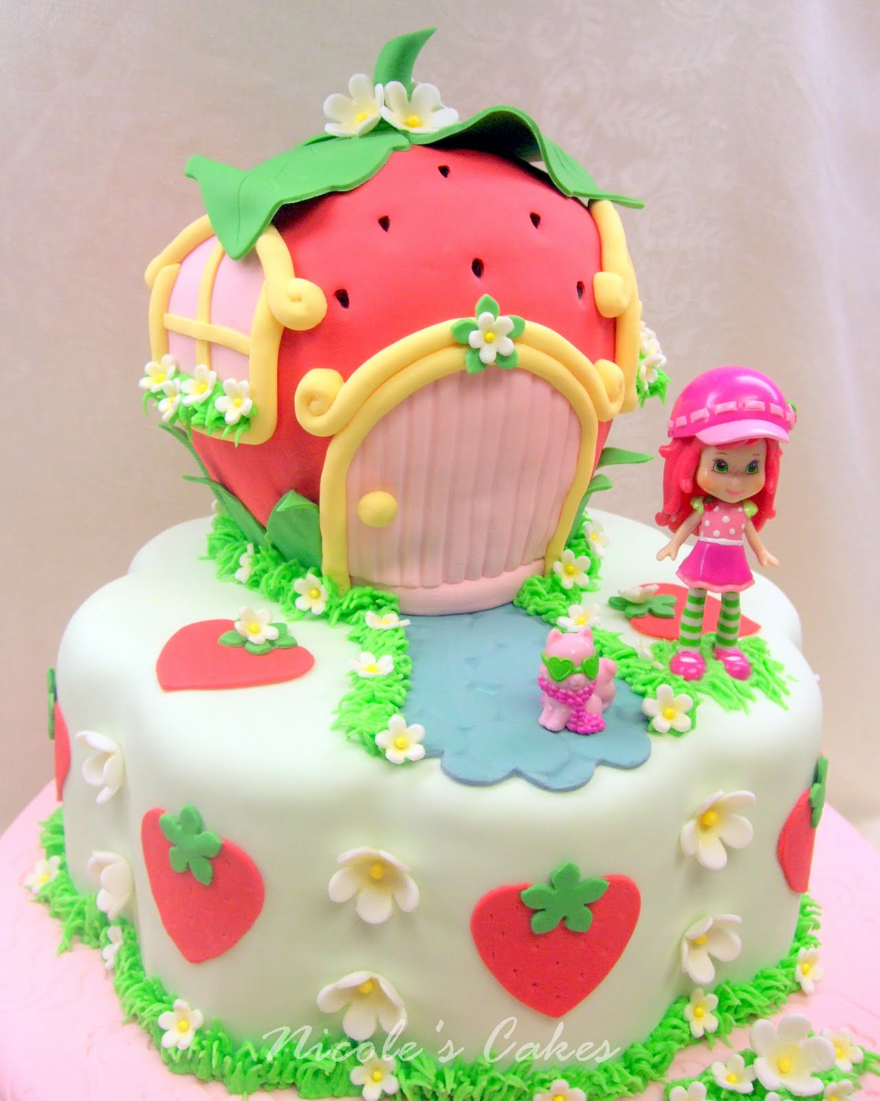 On Birthday Cakes A Berry Beautiful Strawberry Shortcake Birthday Cake