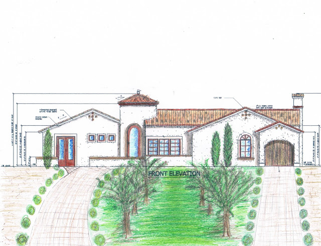 tuscan house drawing, spanish colonial house plan