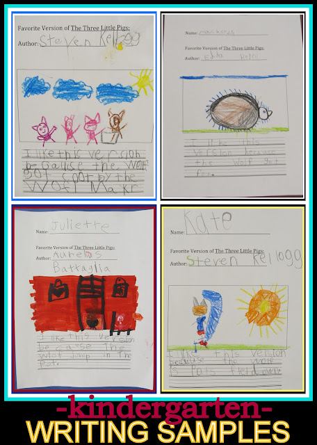 photo of: Kindergarten Writing Samples: Selecting Favorite Folk Tale Version of Pig Literature